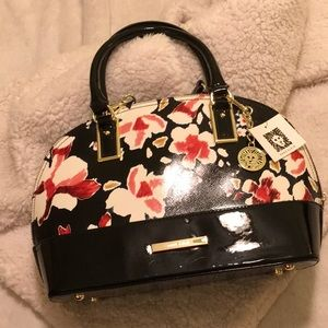 Patent leather/floral satchel/crossbody bag
